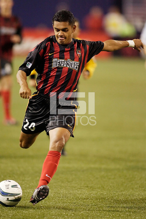 The  MetroStars' Amado Guevara. The Kansas City Wizards were defeated by  the NY/NJ MetroStars to a 1 to 0 at Giant's Stadium, East Rutherford, NJ, on May 30, 2004.