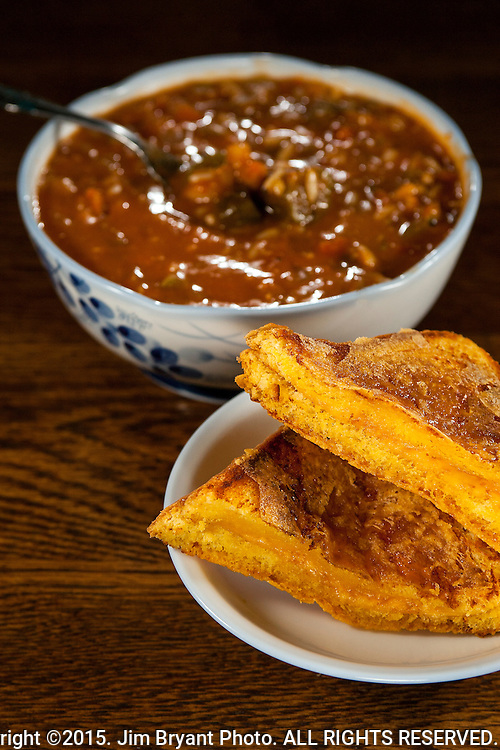 Grilled Cheese Sandwich and Seafood Gumbo.  ©2015. Jim Bryant Photo. ALL RIGHTS RESERVED.