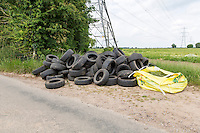 Fly tipping used car tyres - Lincolnshire, June