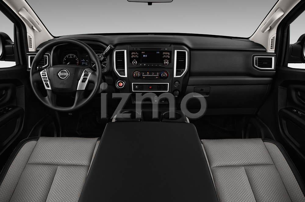 Stock photo of straight dashboard view of 2017 Nissan Titan S-Crew 4 Door Pickup Dashboard