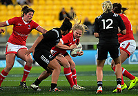 Olivia Demerchant in action during the 2017 International Women's Rugby Series rugby match between the NZ Black Ferns and Canada at Westpac Stadium in Wellington, New Zealand on Friday, 9 June 2017. Photo: Dave Lintott / lintottphoto.co.nz