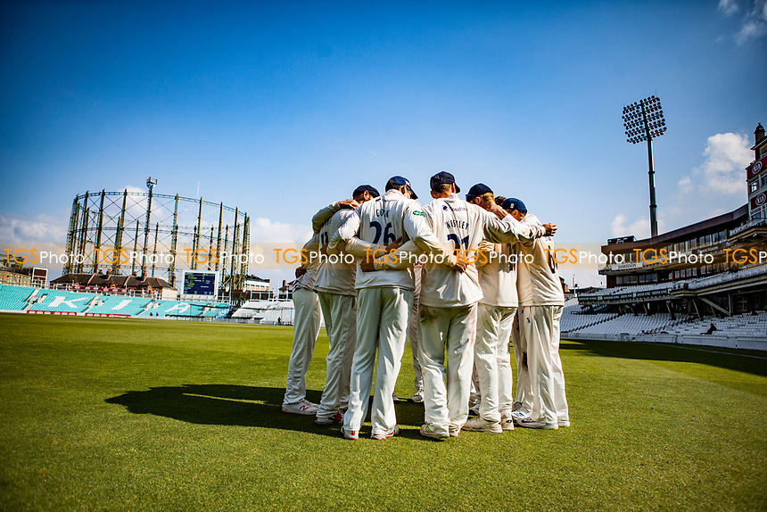 Essex team huddle during Surrey CCC vs Essex CCC, Specsavers County Championship Division 1 Cricket at the Kia Oval on 14th April 2019