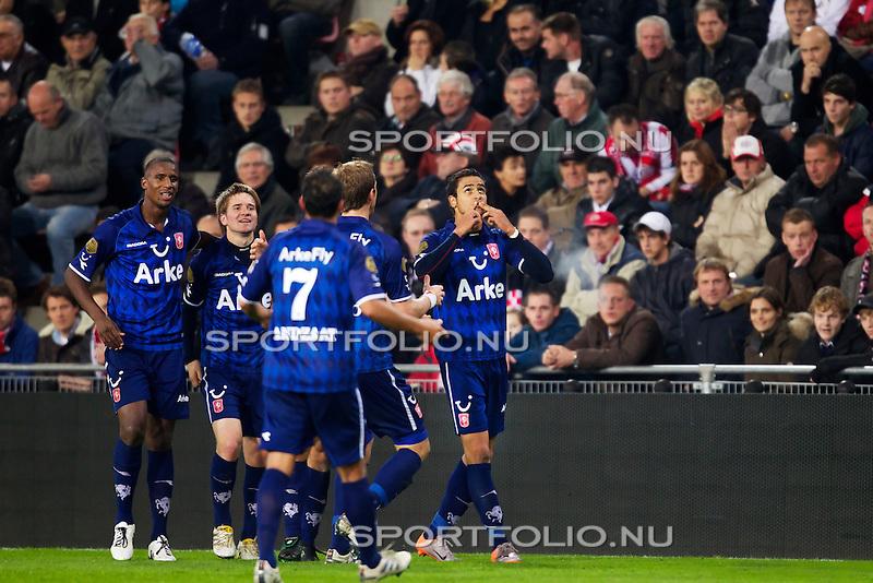 Nederland, 30 oktober 2010.Eredivisie.Seizoen 2010-2011.PSV-FC Twente (0-1).Nacer Chadli van FC Twente juicht na het maken van de 0-1