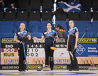 Glasgow. SCOTLAND.  {L to R}. Vicki ADAMS, Anna STONE and lauren GRAY, waitinf instruction's from the Skip,  during  the &quot;Round Robin&quot; Game.  Scotland vs Russia,  Le Gruy&egrave;re European Curling Championships. 2016 Venue, Braehead  Scotland<br /> Thursday  24/11/2016<br /> <br /> [Mandatory Credit; Peter Spurrier/Intersport-images]