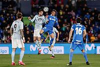 7th March 2020; Coliseum Alfonso Perez, Madrid, Spain; La Liga Football, Club Getafe Club de Futbol versus Celta Vigo; Okay Yokuslu (Celta de Vigo)  wins the header from Nemanja Maksimovic (Getafe CF)