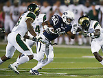 Nevada's Jerico Richardson (84) runs against Colorado State defenders Trent Matthews (16) and Bernard Blake (23) during the first half of an NCAA college football game in Reno, Nev., on Saturday, Oct. 11, 2014. Colorado State won 31-24. (AP Photo/Cathleen Allison)