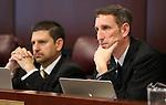 Nevada Sens. Mark Manendo, D-Las Vegas, and Scott Hammond, R-Las Vegas, work in committee at the Legislative Building in Carson City, Nev., on Thursday, Feb. 12, 2015. <br /> Photo by Cathleen Allison