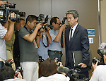 July 21, 2015, Tokyo, Japan - Toshiba President Hisao Tanaka arrives at a news conference at its headquarters in Tokyo on Tuesday, July 21, 2015.  Tanaka announced his resignation, taking responsibility for his part in manipulating deceptive accounting during the news conference. The Japanese electronics and electrical equipment group's manipulated profits add up to 1.25 billion dollars from fiscal 2008 through December 2014. (Photo by Natsuki Sakai/AFLO) AYF -mis-