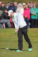 Friday 29th May 2015; Rory McIlroy, Norhern Ireland, taps in at the 17th<br /> <br /> Dubai Duty Free Irish Open Golf Championship 2015, Round 2 County Down Golf Club, Co. Down. Picture credit: John Dickson / SPORTSFILE