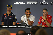 22nd March 2018, Melbourne Grand Prix Circuit, Melbourne, Australia; Melbourne Formula One Grand Prix, Arrivals and Press Conference; Red Bull Racing TAG Heuer, Daniel Ricciardo, Mercedes AMG Petronas Motorsport AMG F1 Team, Lewis Hamilton and Scuderia Ferrari, Sebastian Vettel