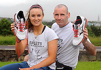 Dual sports star Louise Galvin , who plays superleague basketball for UL and gaelic football for the Kerry ladies team, pictured with her basketball coach James Weldon.. Picture: Eamonn Keogh (MacMonagle, Killarney)
