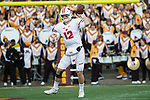 Wisconsin Badgers quarterback Alex Hornibrook (12) throws the ballt during an NCAA College Big Ten Conference football game against the Minnesota Golden Gophers Saturday, November 25, 2017, in Minneapolis, Minnesota. The Badgers won 31-0. (Photo by David Stluka)