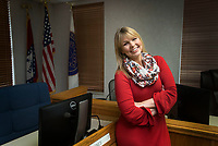 NWA Democrat-Gazette/BEN GOFF @NWABENGOFF<br /> Channing Barker, Benton County communications director, poses for a photo Thursday, Dec. 28, 2017, in Quorum Courth room at the Benton County Administration building in downtown Bentonville.