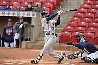 Burlington Bees center fielder Spencer Griffin (21) swings at a pitch against the Cedar Rapids Kernels at Veterans Memorial Stadium on April 14, 2019 in Cedar Rapids, Iowa.  The Bees won 6-2.  (Dennis Hubbard/Four Seam Images)