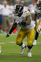 10/23/11 Glendale, AZ:  Pittsburgh Steelers defensive end Ziggy Hood #96 during an NFL game played at University of Phoenix Stadium between the Arizona Cardinals and the Pittsburgh Steelers. The Steelers defeated the Cardinals 32-20.