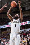 Keyshawn Woods (1) of the Wake Forest Demon Deacons attempts a jump shot during second half action against the North Carolina State Wolfpack at the LJVM Coliseum on February 17, 2018 in Winston-Salem, North Carolina.  The Wolfpack defeated the Demon Deacons 90-84.  (Brian Westerholt/Sports On Film)