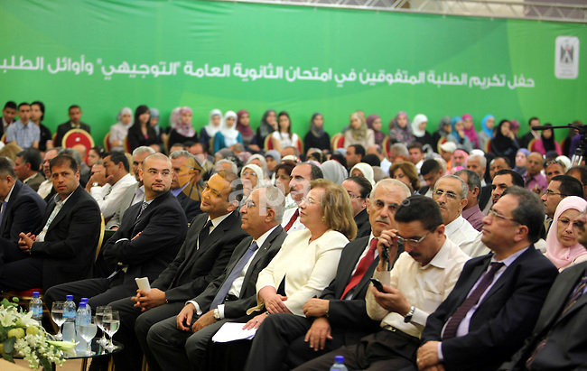 Palestinian Prime Minister, Salam Fayyad during the ceremony of honoring the early high school, universities and colleges in the Movenpick Hotel in the West Bank city of Ramallah on July 28, 2011. Photo by Issam Rimawi