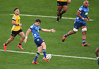 14th June 2020, Aukland, New Zealand;  Beauden Barrett kicks for field position  at the Investec Super Rugby Aotearoa match, between the Blues and Hurricanes held at Eden Park, Auckland, New Zealand.