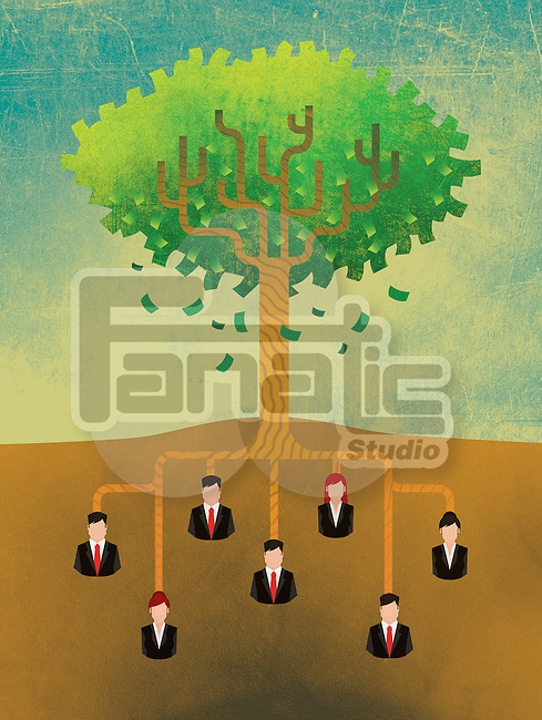 Illustrative image of business people attached to tree roots representing growth and teamwork