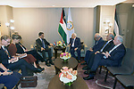 Palestinian President Mahmoud Abbas, meets with Prime Minister of the Netherlands in New York, United States on September 24, 2019. Photo by Thaer Ganaim