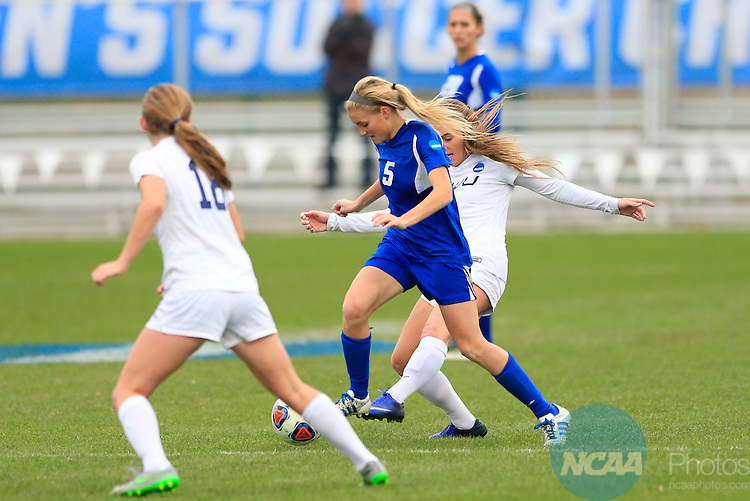 KANSAS CITY, MO - DECEMBER 03:  Erin Russell (6) of Western Washington University and Kendra Stauffer (5) of Grand Valley State University battle for the ball during the Division II Women's Soccer Championship held at Children's Mercy Victory Field at Swope Soccer Village on December 03, 2016 in Kansas City, Missouri. Western Washington University beat Grand Valley State University 3-2 to win the national title.  (Photo by Jack Dempsey/NCAA Photos via Getty Images)