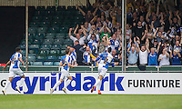 Billy Bodin of Bristol Rovers (centre) celebrates scoring his side's first goal during the Sky Bet League 2 match between Bristol Rovers and Dagenham and Redbridge at the Memorial Stadium, Bristol, England on 7 May 2016. Photo by Mark  Hawkins / PRiME Media Images.