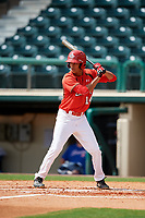 Canadian Junior National Team Antoine Jean (14) at bat during a Florida Instructional League game against the Atlanta Braves on October 9, 2018 at the ESPN Wide World of Sports Complex in Orlando, Florida.  (Mike Janes/Four Seam Images)