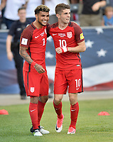 Commerce City, CO - Thursday June 08, 2017: DeAndre Yedlin and Christian Pulisic celebrate a goal during their 2018 FIFA World Cup Qualifying Final Round match versus Trinidad & Tobago at Dick's Sporting Goods Park.