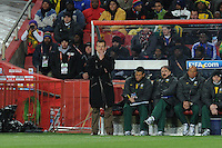 Brazil  coach Dunga watches play from the bench. Brazil defeated North Korea, 2-1, in both teams' opening match of play in Group G of the 2010 FIFA World Cup. The match was played at Ellis Park in Johannesburg, South Africa June 15th.