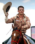 PRCA cowboy Cimmaron Gerke of Brighton, Colorado scores an 88 point bareback ride on the bronc Brother during final round action at the 112th annual Cheyenne Frontier Days Rodeo in Cheyenne, Wyoming on July 27, 2008. Cimmaron's score of 253 points on three broncs was enough to win the championship buckle.