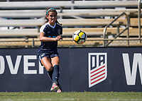 Sanford, FL - Saturday Oct. 14, 2017:  A Courage player watches her pass during a US Soccer Girls' Development Academy match between Orlando Pride and NC Courage at Seminole Soccer Complex. The Courage defeated the Pride 3-1.