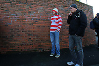 Kingstonian wait patiently to enter the ground during Macclesfield Town vs Kingstonian, Emirates FA Cup Football at the Moss Rose Stadium on 10th November 2019