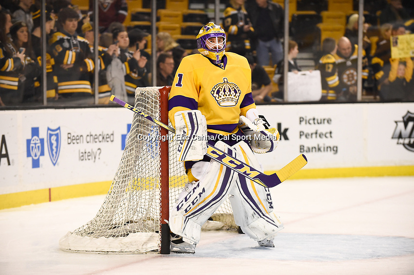 Tuesday, February 9, 2016: Los Angeles Kings goalie Jhonas Enroth (1) skates in warm-ups prior to the National Hockey League game between the Los Angeles Kings and the Boston Bruins, held at TD Garden, in Boston, Massachusetts. The Kings defeat the Bruins 9-2. Eric Canha/CSM