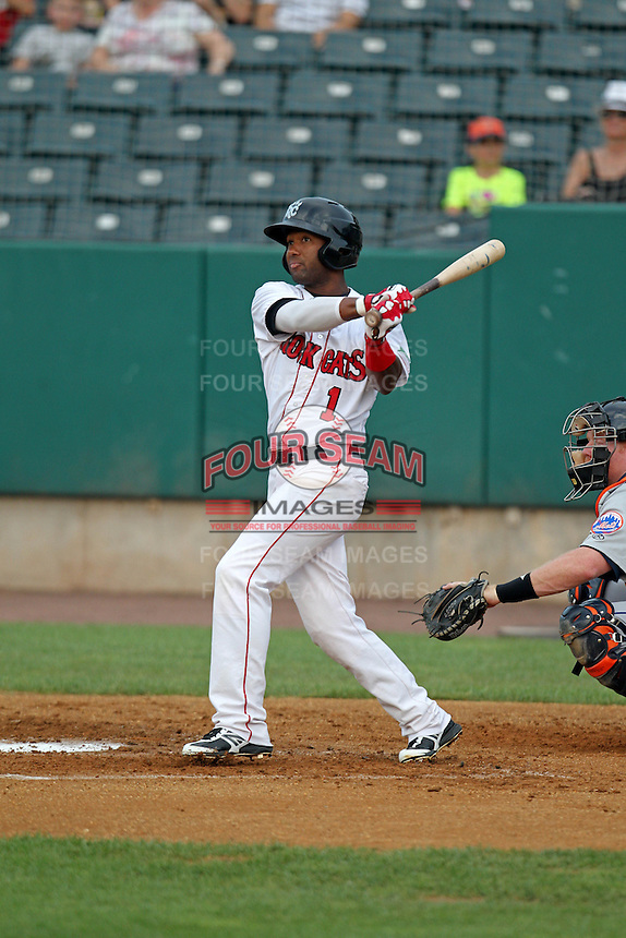 New Britain Rock Cats shortstop Danny Santana #1 bats during a game against the Binghamton Mets at New Britain Stadium on July 18, 2013 in New Britain, Connecticut. (Brace Hemmelgarn/Four Seam Images)
