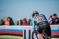 Axelle Bellaert (BEL), cornering<br /> <br /> Women U23 race.<br /> <br /> UCI 2019 Cyclocross World Championships<br /> Bogense / Denmark<br /> <br /> <br /> &copy;kramon