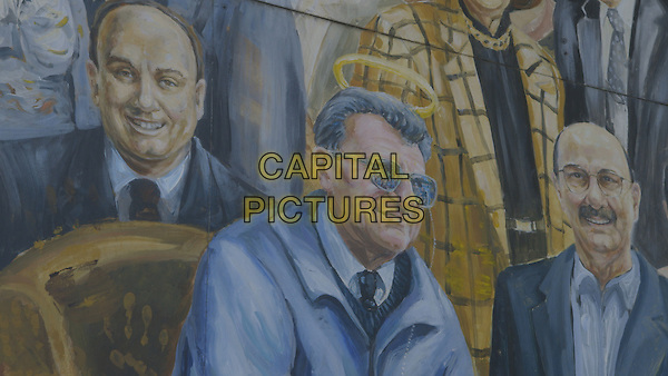 Happy Valley (2014)<br /> Detail of Joe Paterno from the mural &ldquo;Inspiration&rdquo; by Michael Pilato.<br /> *Filmstill - Editorial Use Only*<br /> CAP/KFS<br /> Image supplied by Capital Pictures