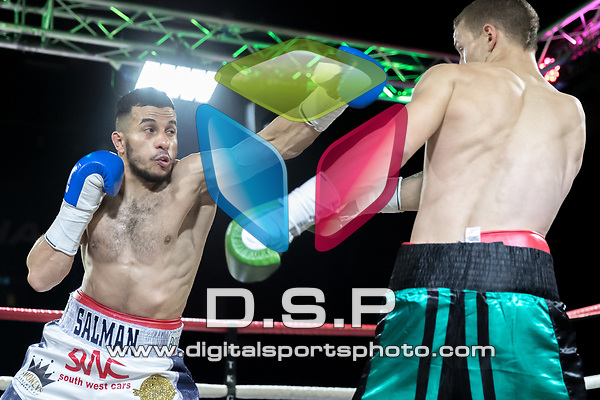 Adam Salmon vs Edvinas Puplauskas Welterweight Contest During MTK London: Essex Fight Night. Photo by: Simon Downing.<br /> <br /> Saturday October 7th 2017 - Brentwood Centre, Brentwood, Essex, United Kingdom.