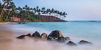 Mirissa Beach, panoramic photo of the Eastern end of the beach, South Coast of Sri Lanka, Asia. This is a photo of the eastern end of Mirissa Beach, Sri Lanka, Asia. Mirissa Beach is a popular sandy beach on the South Coast of Sri Lanka.