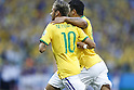 (L-R) Neymar, Hulk (BRA),<br /> JULY 4, 2014 - Football / Soccer : Neymar (10) and Hulk celebrate after Thiago Silva's goal during the FIFA World Cup Brazil 2014 Quarter Final match between Brazil 2-1 Colombia at the Castelao arena in Fortaleza, Brazil. <br /> (Photo by AFLO)