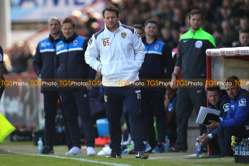 Stevenage manager Darren Sarll during Stevenage vs AFC Wimbledon, Sky Bet League 2 Football at the Lamex Stadium on 30th April 2016