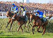 14h April 2018, Aintree Racecourse, Liverpool, England; The 2018 Grand National horse racing festival sponsored by Randox Health, day 3;  From left to right , Maggio, The Last Samurai and Raz de Marie successfully negotiate the water jump in The Grand National