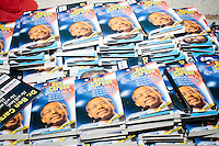 """Copies of John Phillip Sousa IV's book """"Ben Carson: Rx for America"""" lay on a table to be given out as people leave a town hall meeting with Republican presidential candidate Dr. Ben Carson at a meeting of the Windham Republican Town Committee at the Castleton Banquet and Conference Center in Windham, New Hampshire."""