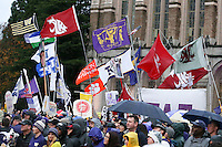 12 November 2016:   Fans weathered the cold  and rain to be part of the ESPN Game Day experience before game between Washington and USC at the University of Washington in Seattle, WA.