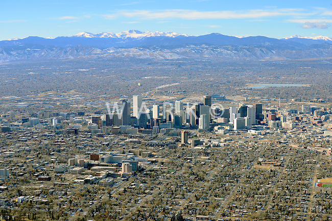 Winter aerial of Denver, Colorado. Dec 2013