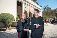 Lisa Wade, Associate Professor, Sociology and Gregory Tollisen, Adjunct Assistant Professor, Mathematics receive the Linda and Tod White Teaching Prize. Incoming first-years start the year at Occidental College's 127th annual Convocation ceremony on Aug. 28, 2013 in Thorne Hall.<br /> (Photo by Marc Campos, Occidental College Photographer)
