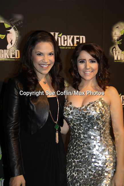 """Lindsay Mendez """"Elphaba"""" & Alli Mauzey """"Glinda"""" - Wicked - current cast - The blockbuster musical, Wicked, celebrates its 10th Anniversary on Broadway, a milestone achieved by only ten other Broadway productions in history on October 30, 2013 at the Gershwin Theatre, New York City followed by the red carpet at the Edison Ballroom with current, alumni and creative team.  (Photo by Sue Coflin/Max Photos)"""