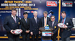 From L to R: Mr Grant Jamieson, Mr Pang Chung, Mr John Slosar, Mr Gordon French, Mr Brian Stevenson and Mr Rod Mason officiate during the Cathay Pacific/HSBC Hong Kong Sevens 2013 Official Draw held at Hysan Place, Hong Kong on 21st February 2013. Photo Raf Sanchez / The Power of Sport Images