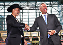 (L-R) Norichika Aoki, Reid Ryan (Astros),<br /> JUNE 12, 2017 - MLB :<br /> Norichika Aoki of the Houston Astros receives a cowboy hat from Reid Ryan, the president of the Houston Astros, during a pregame ceremony honoring his 2000th career hit before the Major League Baseball game against the Texas Rangers at Minute Maid Park in Houston, Texas, United States. (Photo by AFLO)