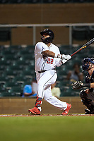 Scottsdale Scorpions Trey Harris (22), of the Atlanta Braves organization, at bat during an Arizona Fall League game against the Glendale Desert Dogs on September 20, 2019 at Salt River Fields at Talking Stick in Scottsdale, Arizona. Scottsdale defeated Glendale 3-2. (Zachary Lucy/Four Seam Images)