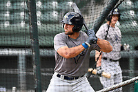 Left fielder Tim Tebow (15) of the Columbia Fireflies takes batting practice before a game against the Greenville Drive on Tuesday, June 13, 2017, at Fluor Field at the West End in Greenville, South Carolina. Greenville won, 5-4. (Tom Priddy/Four Seam Images)